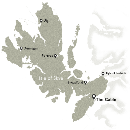 Map of Skye highlighting The Cabin